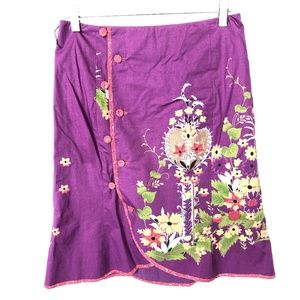 Anthropology Odille Floral A Line Skirt Sz 4